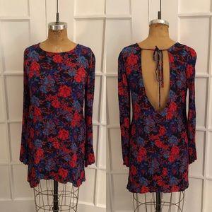EUC long sleeve low back floral mini dress Large